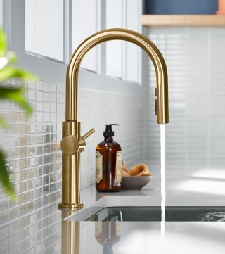 Available in traditional, touchless and voice-activated models, this Crue kitchen faucet strikes quite the pose.    Crue™ Single-Handle Faucet   Crue™ Touchless Faucet    Crue™ Voice-Activated Faucet
