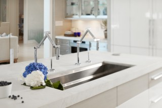 Karbon kitchen faucet    Prolific sink    A wide sink deserves two faucets to provide efficiency and ease for everyday kitchen tasks.