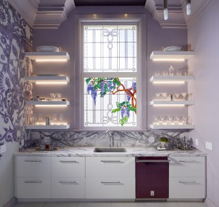 Karbon Kitchen Sink Faucet    Cairn Under-Mount Sink    Stained glass wisterias create the perfect centerpiece to the delicate pastels of this petite kitchen. The lighting and the crisp lines of the shelves and cabinets provide a modern counterpoint to the room's traditional elements.