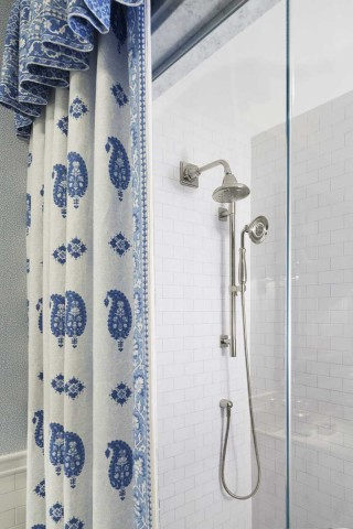 Pinstripe Showerhead    Forté Handshower   The Pinstripe showerhead pairs perfectly with the grace and style of the fabric curtain adorning the shower.