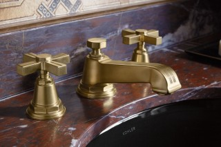 Caxton Undermount Sink    Pinstripe Sink Faucet    The classic KOHLER pinstripe faucet in the new brushed brass finish pairs perfectly with the darker color palette of the space.