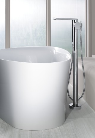 Veil Freestanding Bath    Composed Floor Mount Bath Filler    A freestanding bath is visible from all angles, so pair it with an equally stylish floor mount bath filler to elevate your space and keep luxury at the forefront of your design.