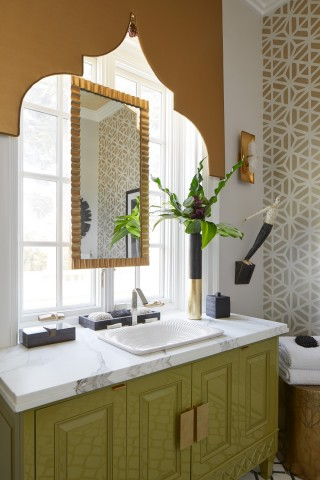 Derring on Carillon Rectangle Wading Pool Sink    Loure Widespread Faucet    You can almost feel the warm ocean breeze and hear the sound of street musicians in this Tangier-themed master bath.