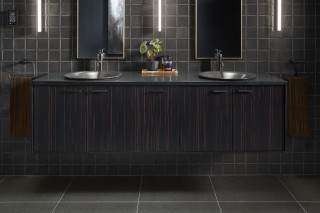 Jute Vanity    Shagreen Bathroom Sink    Purist Faucet   Chic elements like the rich wood grain finish of the vanity and matte shimmer of the sink and faucet pairings allow your space to not only shine, but glow.