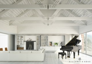 For this mountainside Aspen vacation home, the owners thought the Steinway & Sons piano would be a great focal point for the room.