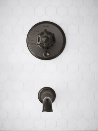 Artifacts® wall-mount bath spout with flare design    Artifacts shower valve trim with prong handle    The Artifacts collection pairs vintage designs with modern performance and convenience.