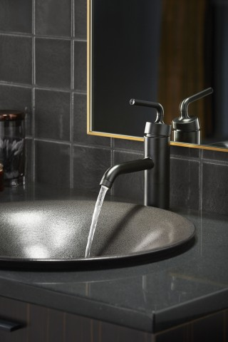 Shagreen Bathroom Sink    Purist Faucet    The Shagreen Sink pairs well with a contemporary, matte black faucet because they tell the same color story and each utilizes smooth design lines for a calming effect.