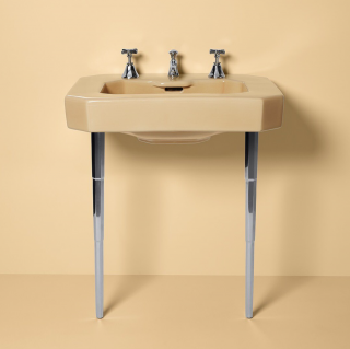 Our 1936 Claridge cast iron sink, shown here in Tuscan, was the dawn of the table-legged console sink. Combined with chrome-plated brass legs and you can see why this sink has stood the test of time. Today our console sinks are still a classic choice.    Console Sinks