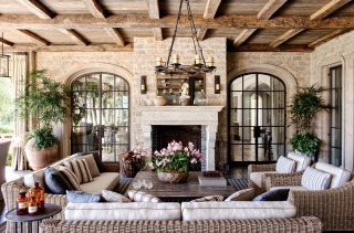 Rustic Outdoor Space by Joan Behnke & Assoc. Inc. and Landry Design Group Inc. in Los Angeles, California