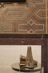 """The walls are covered in de Gourney's new bas relief """"labrado"""" wallpaper and are hand-painted to mimic the craftsmanship of Morroccan leather."""